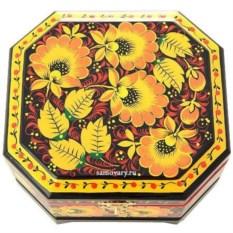 Деревянная шкатулка с хохломской росписью (120х100 см)