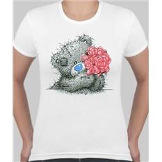 Женская футболка Мишка Тедди с розами
