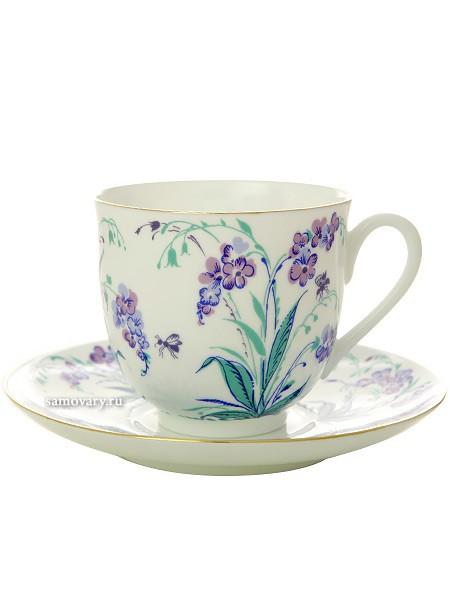 Кофейная чашка с блюдцем Незабудки
