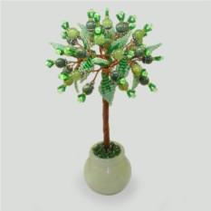 Дерево из оникса и змеевика Цвет жизни в вазочке из оникса
