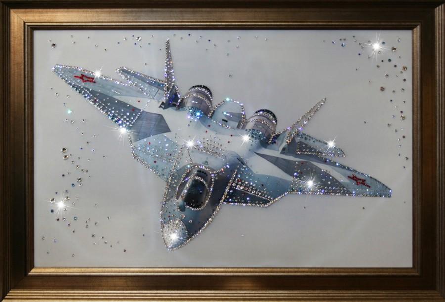 Картина с кристаллами Swarovski Истребитель в небе