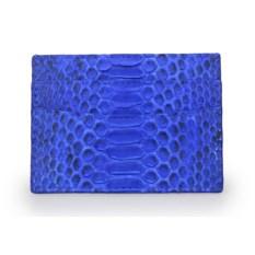 Голубой держатель для карт из кожи питона