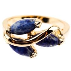 Позолоченное кольцо с лазуритом Дафна