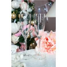 Бокалы для шампанского с текстом Новогоднее волшебство
