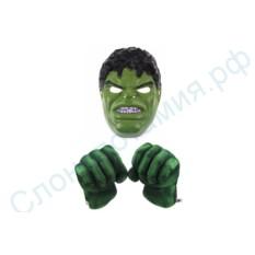 Набор; перчатки-кулаки и пластиковая маска Халка