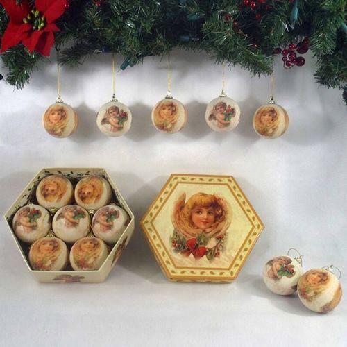 Набор шаров Рождественские ангелочки в подарочной коробке
