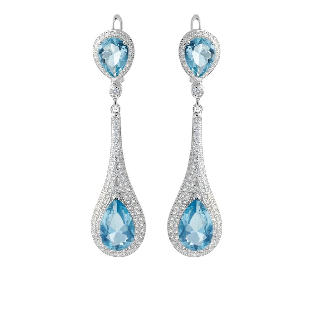 Серебряные серьги с голубым ювелирным стеклом и фианитами
