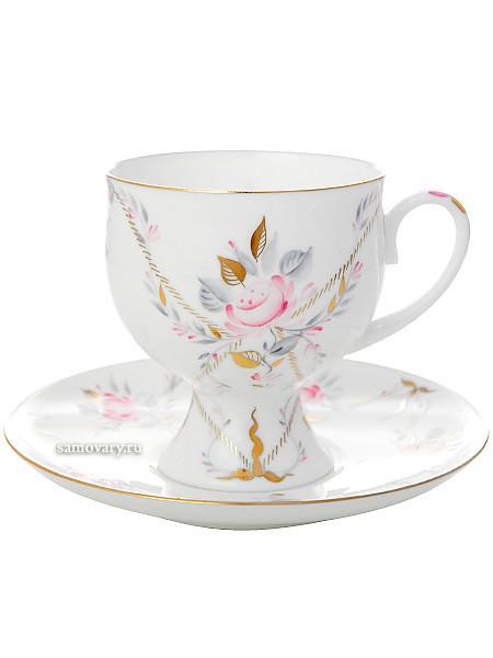 Фарфоровая кофейная чашка с блюдцем Галантный