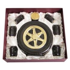 Штоф Колесо со стопками в подарочной коробке
