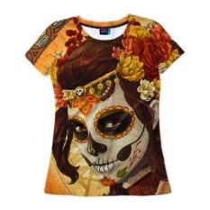 Женская 3D-футболка Девушка. Сахарный череп