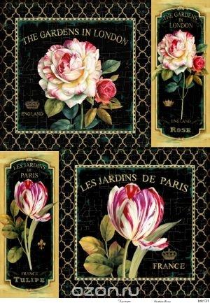 Рисовая карта для декупажа Кустарь Розы и тюльпаны на черном фоне (21х29 см)