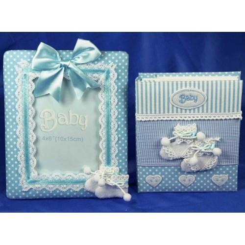 Подарочный набор Новорожденный: фотоальбом и фоторамка