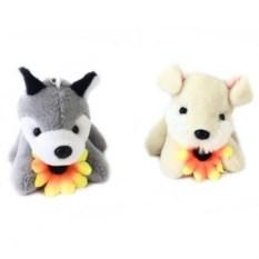 Музыкальная мягкая игрушка-брелок Собачка с цветочком