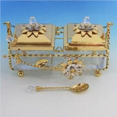 Квадратный набор для варенья с ложкой с кристаллом