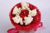 Букет из игрушек Мишки зефирки в красном