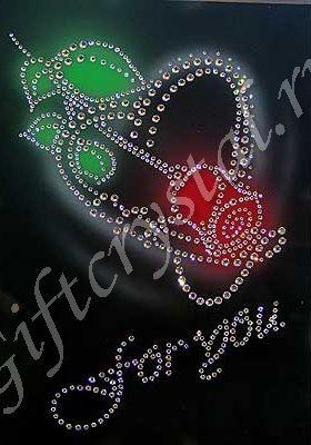 Картина с кристаллами Swarovski Роза-большая