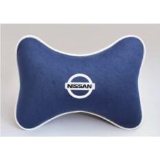 Подушка на подголовник из синего велюра Nissan