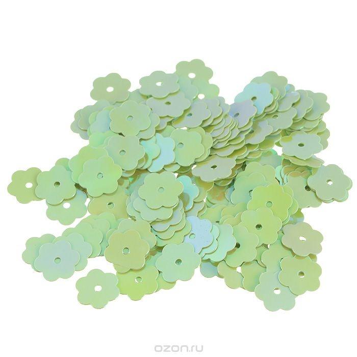 Пайетки Астра (цветочки), с перламутром, салатовый (85)