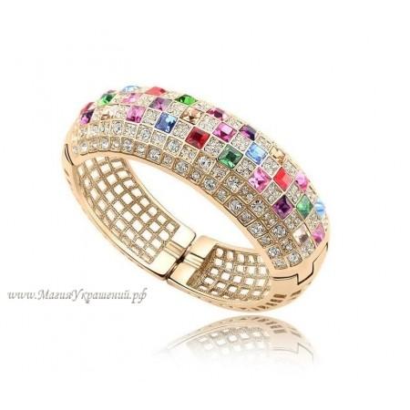 Браслет с разноцветными кристаллами Сваровски