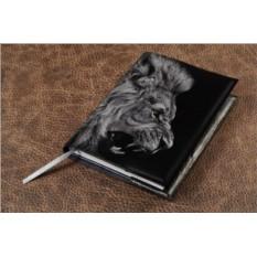 Черный кожаный ежедневник Морда льва