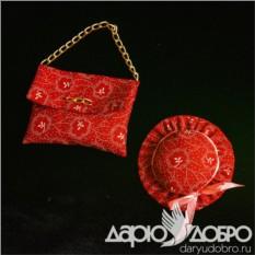 Красный комплект саше Сумочка и шляпка