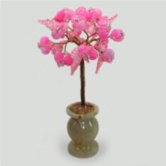 Дерево из розового агата в вазочке из оникса