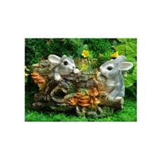Кашпо «Пень с двумя зайцами»
