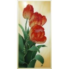 Картина Swarovski Садовые тюльпанчики, 20х40 см, кристаллов 1079