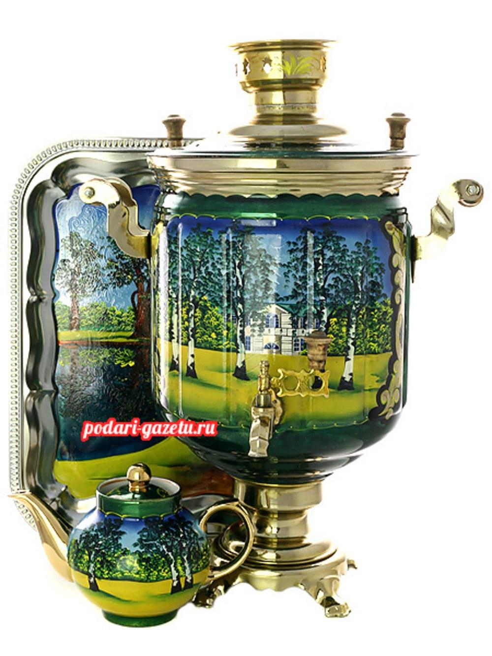 Набор: электрический самовар на 10 литров с художественной росписью Ясная поляна