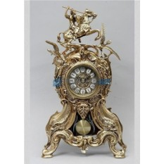 Часы из бронзы с маятником Всадник и птицы