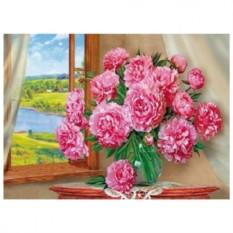 Картина-раскраска по номерам на холсте Пионы у окна