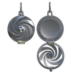 Серебряный открывающийся медальон с фианитом в центре