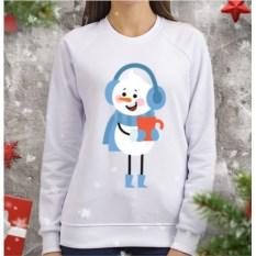 Женский свитшот Снеговик с кружкой чая
