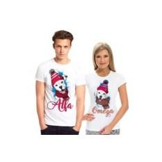 Парные футболки с собачками Alfa и Omega