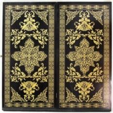Большие нарды из дерева Восточная звезда (черно-золотые)