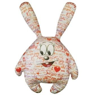 Мини  подушка-игрушка Зайчик I LOVE YOU