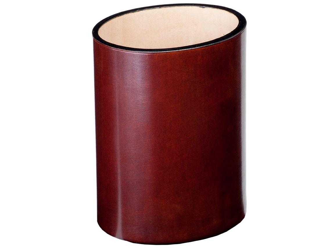 Овальный коричневый стакан для ручек Visconti