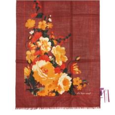 Терракотово-бордовый зимний палантин с цветами Mila Schon