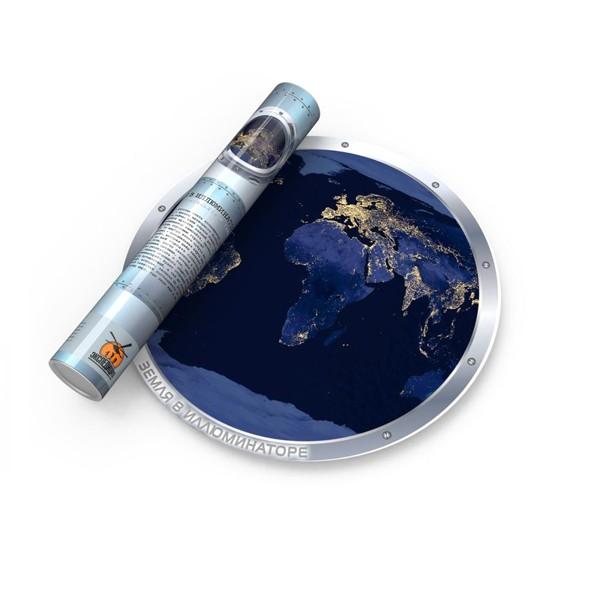 Ночная светящаяся карта мира Земля в иллюминаторе