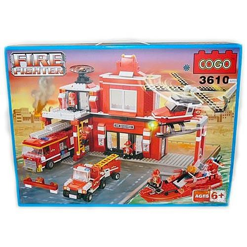 Конструктор Cogo Пожарная станция, 842 детали