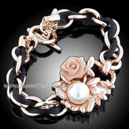 Браслет с розой и кристаллами Swarovski