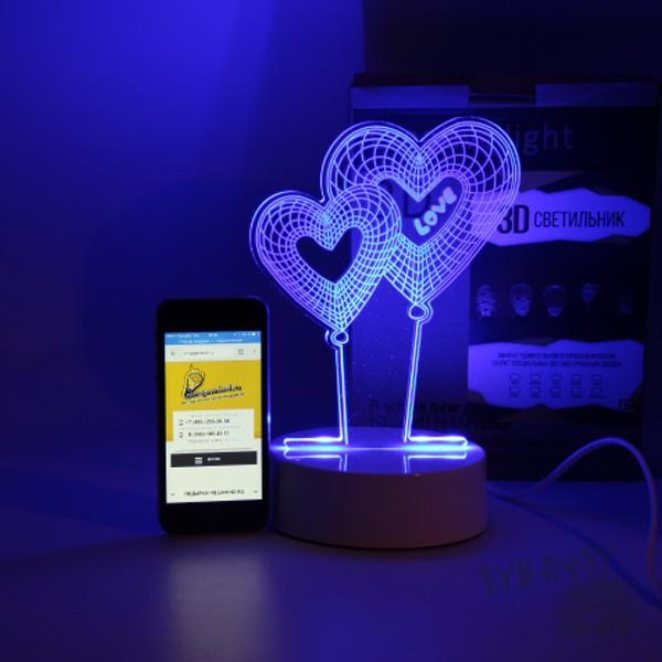 3D лампа с сенсорной панелью SuperLight Два сердца