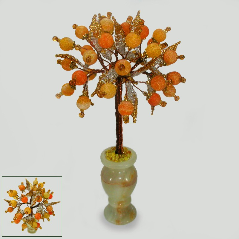 Дерево благополучия из желтого агата в вазочке из оникса