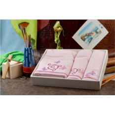 Набор махровых полотенец (розовый, хлопок)