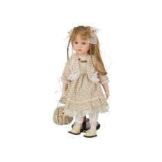 Фарфоровая кукла в бежевом платье, высота 40 см