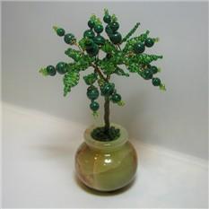 Дерево счастья из малахита в вазочке из оникса