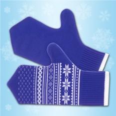 Синие рукавички с зимним узором