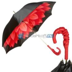 Женский зонт-трость Pasotti Nero Georgin Rosso Pelle