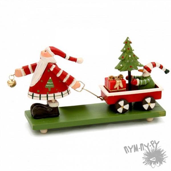 Декоративное украшение «Дед Мороз с тележкой»
