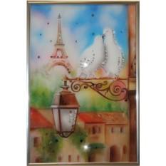 Картина с кристаллами Swarovski Голуби в Париже